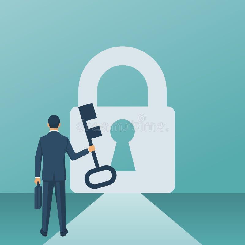 Businessman key lock royalty free illustration