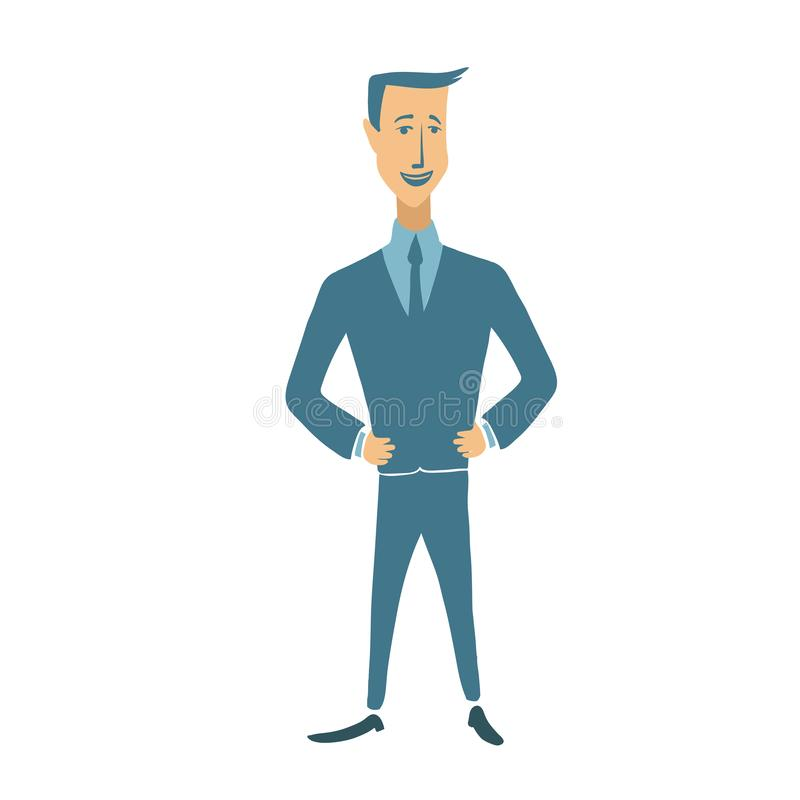 Businessman in suit standing with his hands on waist. Successful entrepreneur, business, strong leader concept vector illustration