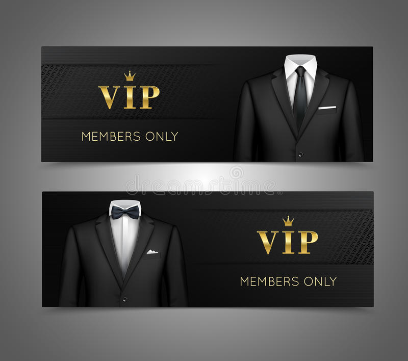 Businessman Suit Vip Cards Horizontal Banners Stock Vector