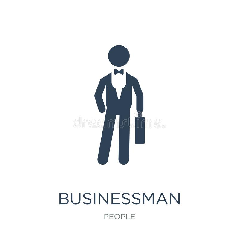businessman with suitcase icon in trendy design style. businessman with suitcase icon isolated on white background. businessman royalty free illustration