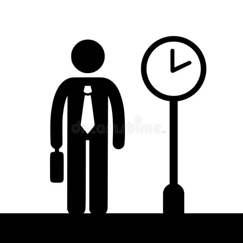 Businessman with a suitcase waiting at a buss stop. Simple silhouette black and white vector illustration