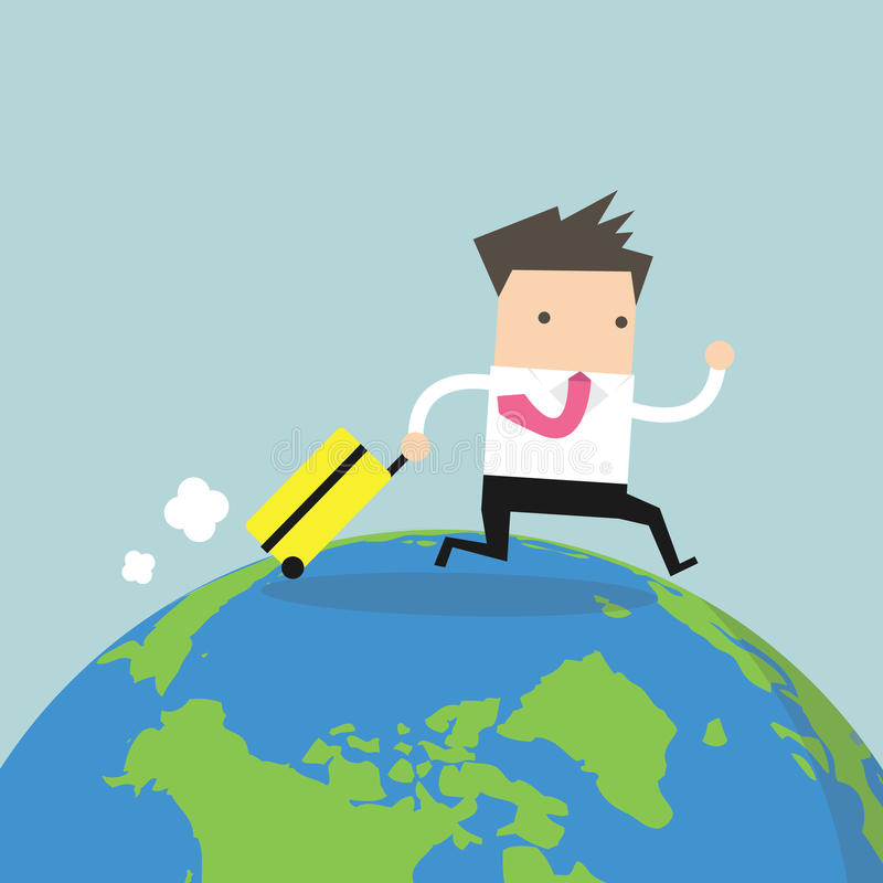 Businessman with suitcase walking around the world. vector illustration