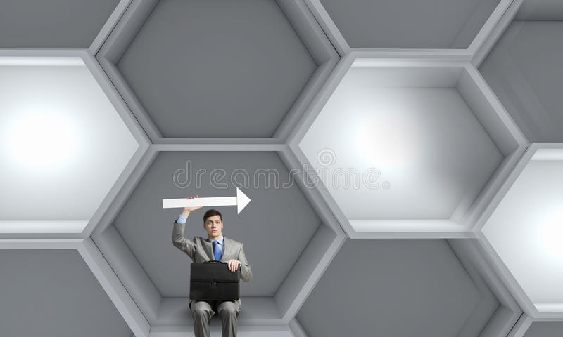 Businessman with suitcase stock illustration