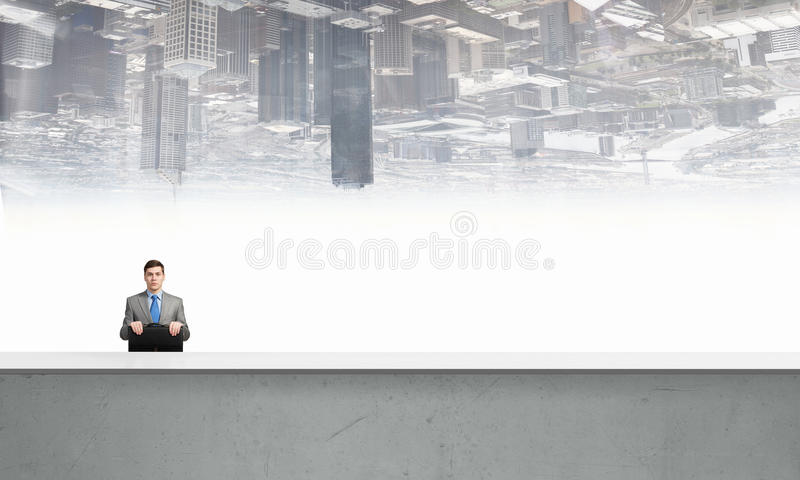 Businessman with suitcase royalty free illustration