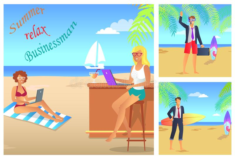 Businessman Summer Relax Color Vector Illustration vector illustration