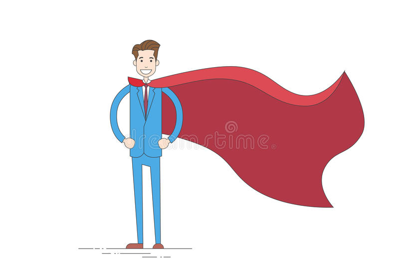 Businessman Super Hero Cartoon Wear Suit Red Cape. Vector Illustration royalty free illustration