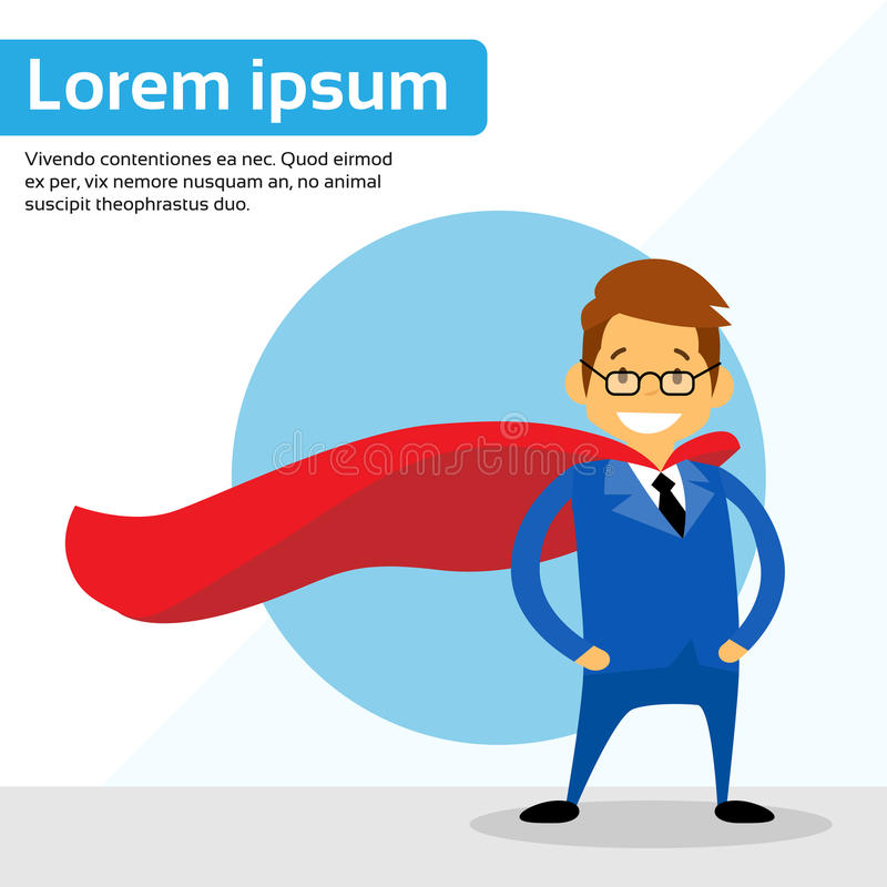 Businessman Super Hero Chartoon Wear Suit Red Cape. Flat VEctor Illustration royalty free illustration