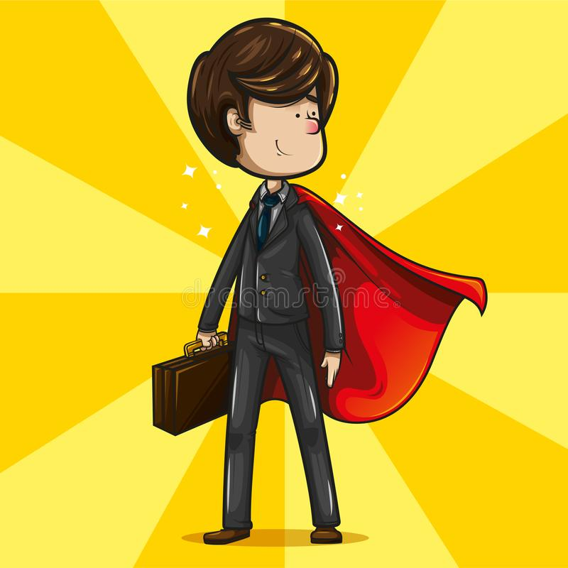 Businessman with super hero pose and a red cape wafting on his back. Cheerful and fun businessman, with brown hair, dark suit dress, aquamarine tie and brown vector illustration