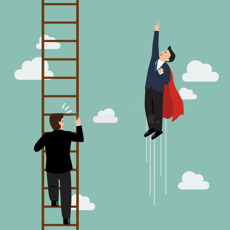 Businessman superhero fly pass businessman climbing the ladder. Business competition concept stock illustration
