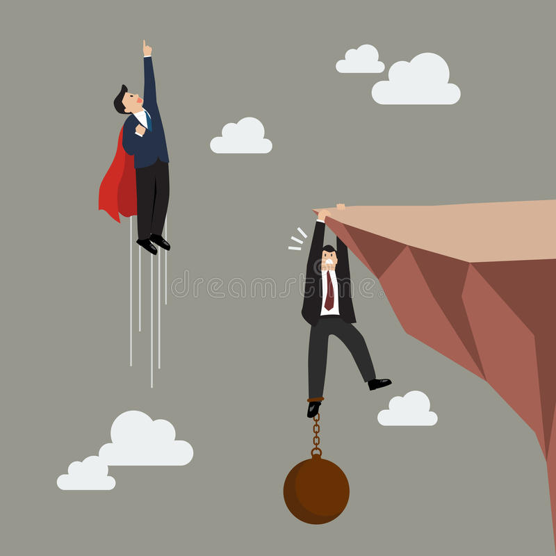 Businessman superhero fly pass businessman hold on the cliff with burden vector illustration