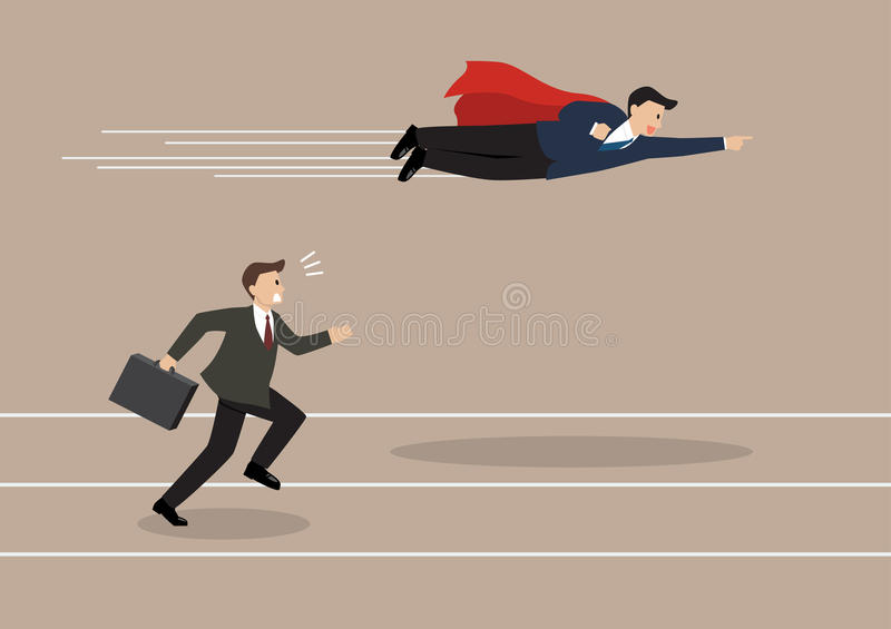 Businessman superhero fly pass his competitor. Business competition concept stock illustration