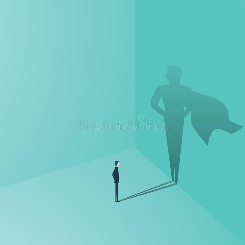 Businessman with superhero shadow vector concept. Business symbol of ambition, success, motivation, leadership, courage. And challenge. Eps10 vector stock illustration