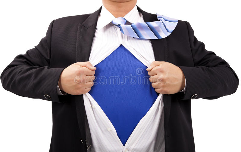 Businessman and superman. Businessman with courage and superman concept royalty free stock photos