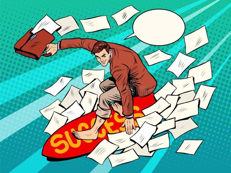 Businessman surfer success vector illustration