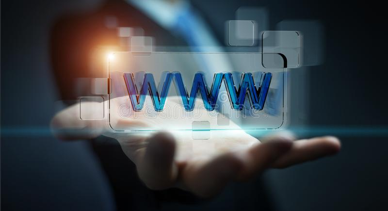 Businessman surfing on internet using tactile web address bar 3D rendering. Businessman using tactile interface web address bar to surf on internet 3D rendering royalty free illustration