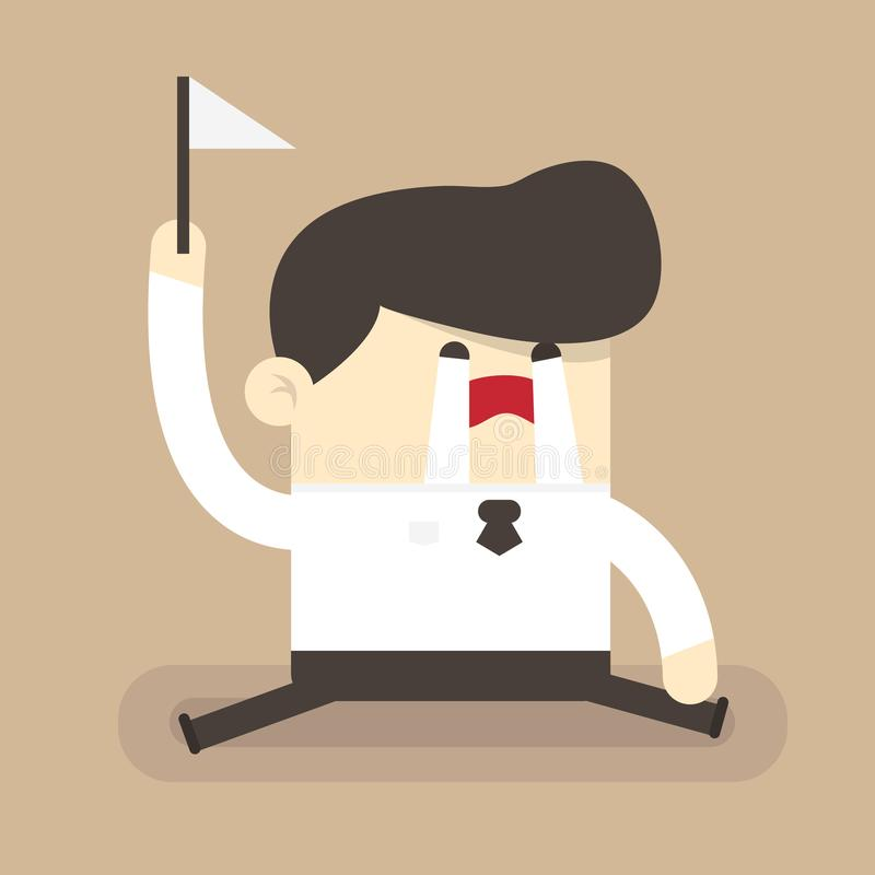Businessman surrender, flat design vector illlustion eps10. Businessman hold white flag stock illustration
