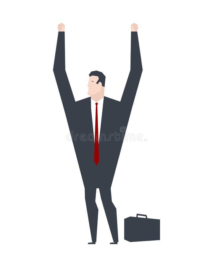 Businessman surrender hands up. Business life. Vector illustration. royalty free illustration