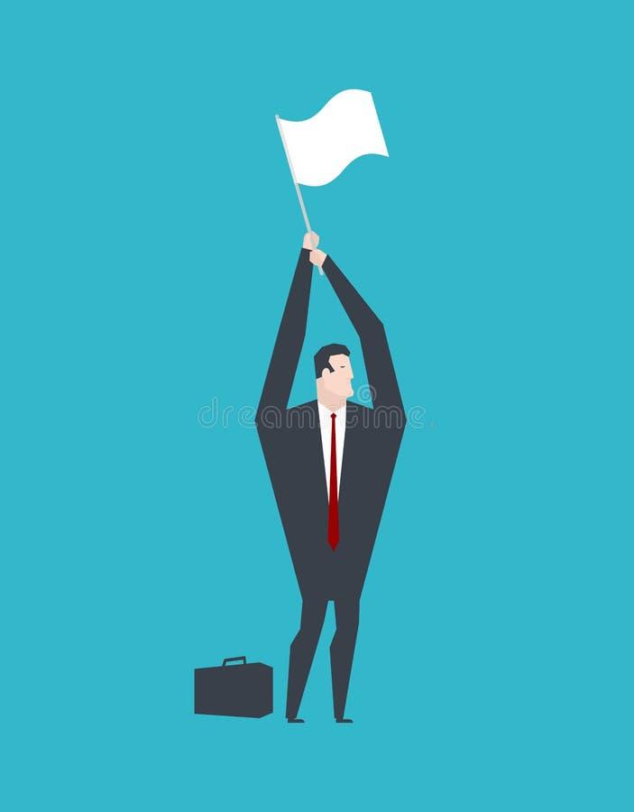 Businessman surrender hands up and white flag. Business life. Vector illustration. vector illustration