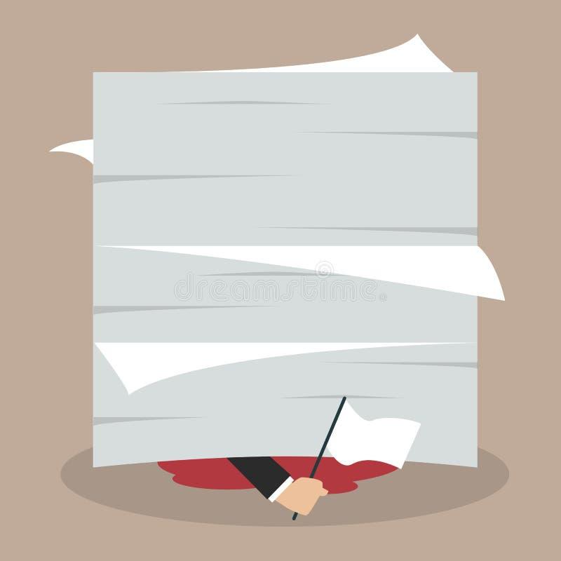 Businessman surrender show the white flag under a lot of documen. Ts. Business concept vector illustration