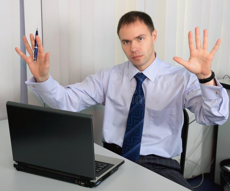 A Businessman Surrenders. Stock Photos