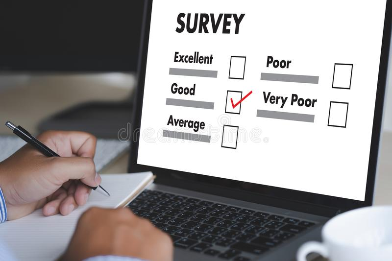 Businessman SURVEY and Results Analysis Discovery Concept. Concept royalty free stock photos