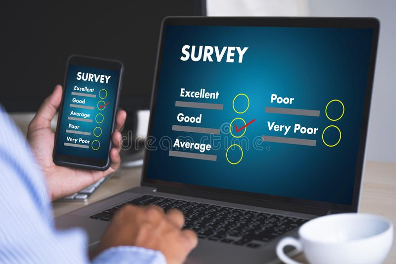 Businessman SURVEY and Results Analysis Discovery Concept. Concept stock images