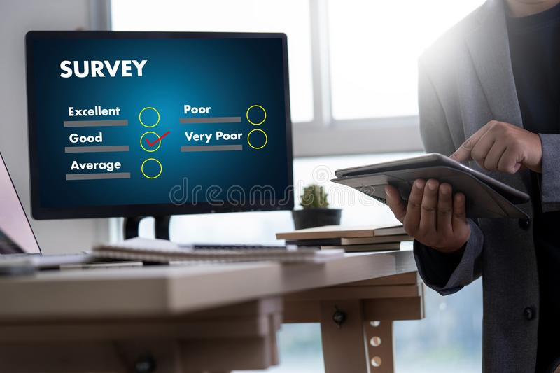 Businessman SURVEY and Results Analysis Discovery Concept. Concept stock photography