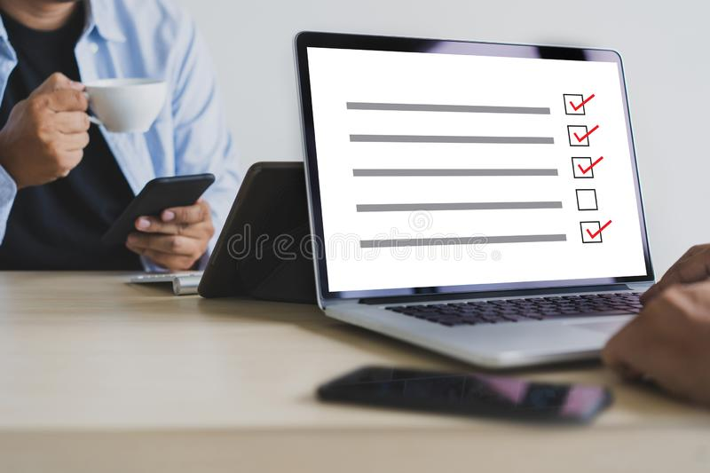 Businessman SURVEY and Results Analysis Discovery Concept. W stock image