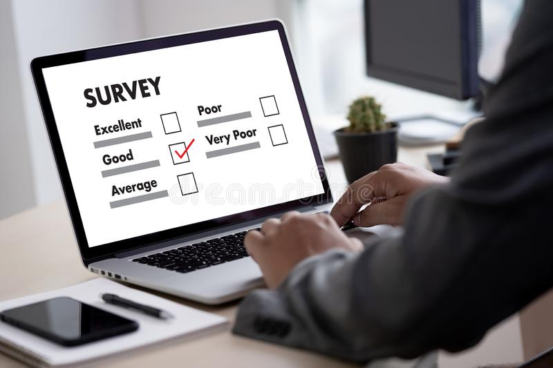 Businessman SURVEY and Results Analysis Discovery Concept. Concept royalty free stock photography