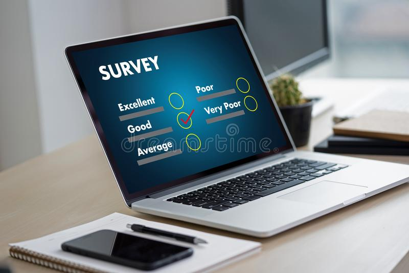 Businessman SURVEY and Results Analysis Discovery Concept. V stock photos