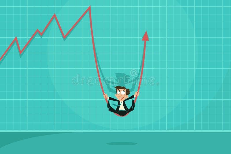 Businessman swinging on Profit Arrow royalty free illustration
