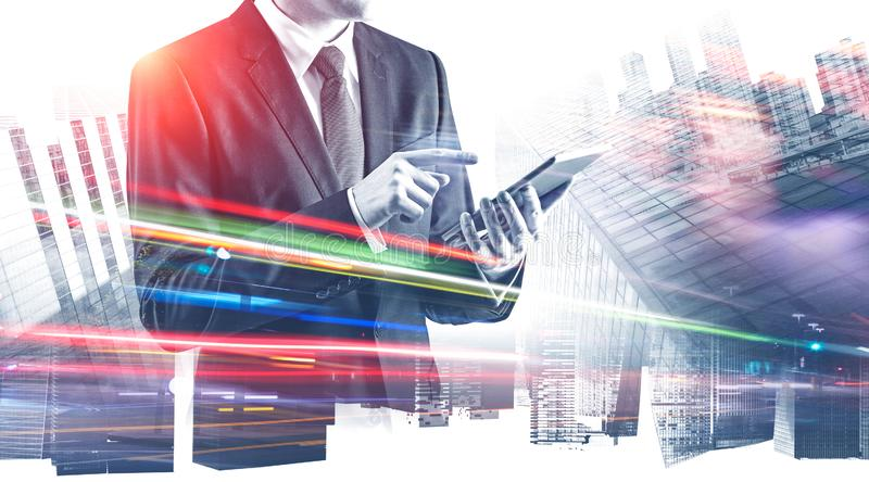 Businessman with tablet in abstract city royalty free illustration