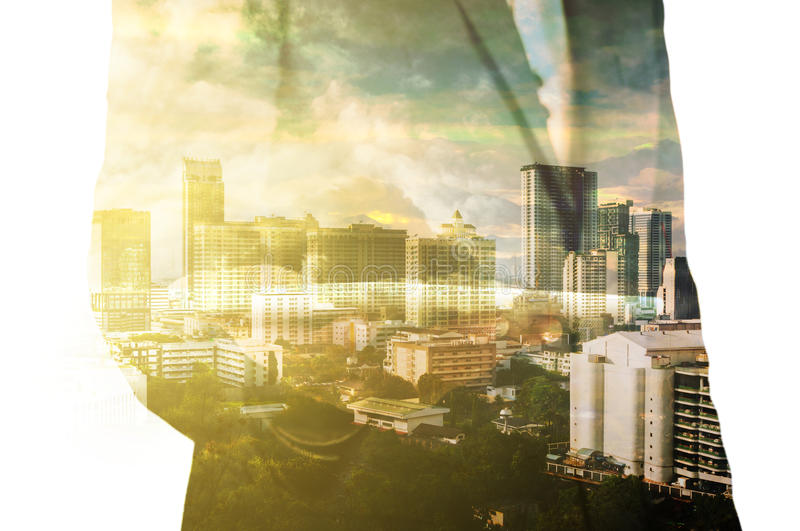 Businessman with Tablet and City of Bangkok, double exposure as. Real Estate Development Concept stock photo