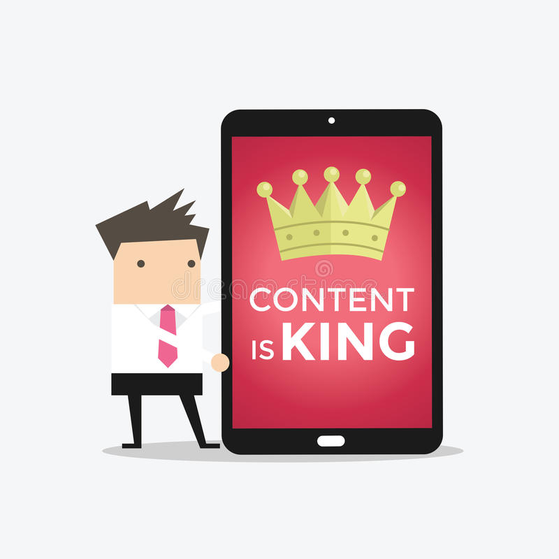 Businessman with tablet words CONTENT IS KING stock illustration
