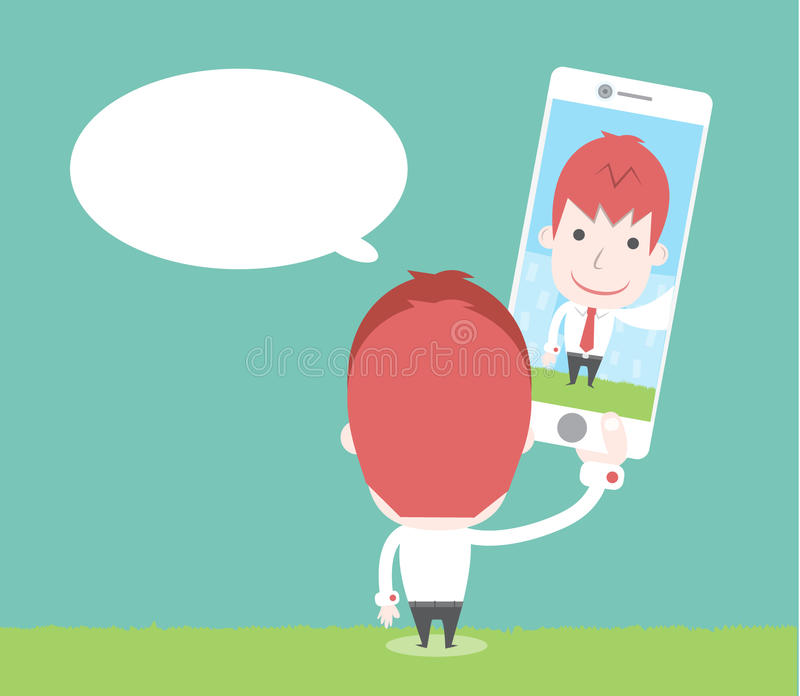 Businessman take selfie vector illustration