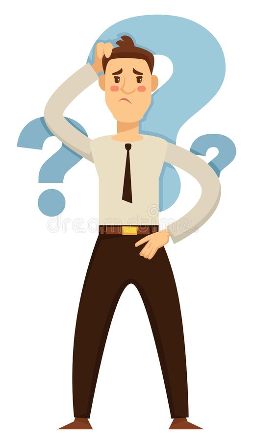 Businessman taking decision hesitation and doubt question marks. Taking decision hesitation and doubt businessman question marks vector isolated male character royalty free illustration