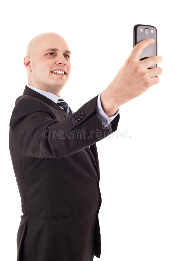 Businessman taking a selfie royalty free stock image