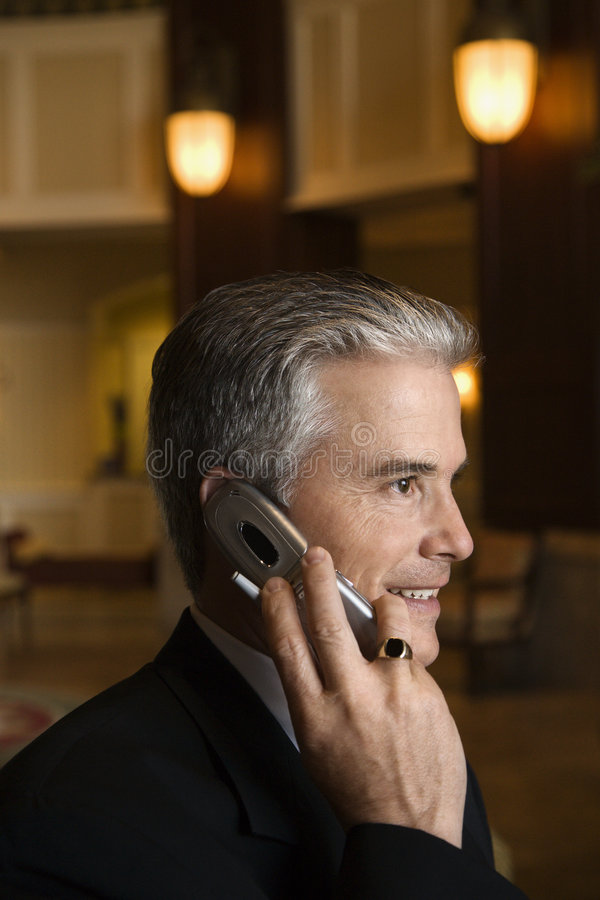 Download Businessman Talking On Cellphone In Hotel Lobby. Stock Photo - Image: 2037550