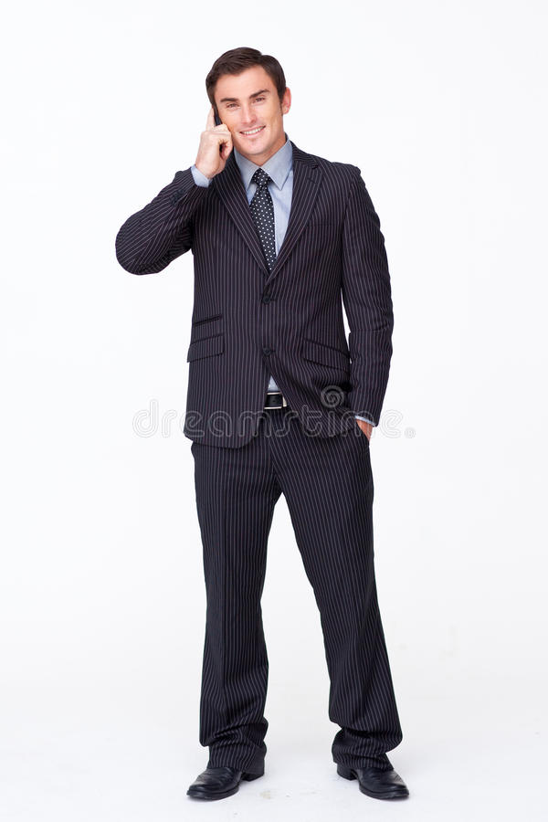 Businessman talking on phone royalty free stock photos