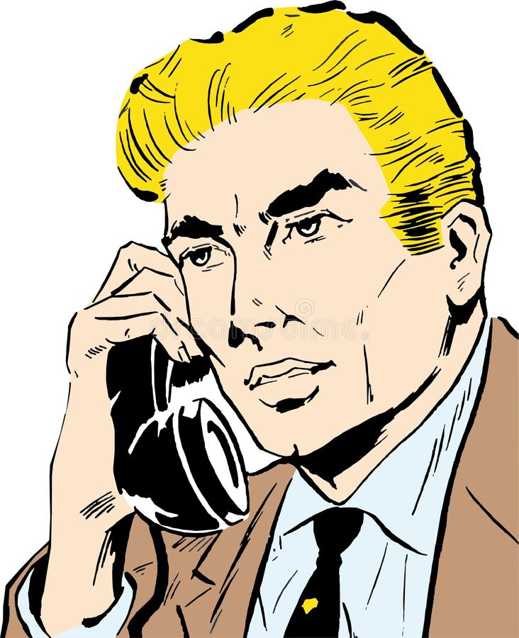 Businessman talking on phone. At office royalty free illustration