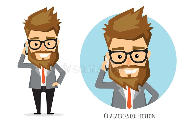 Businessman talking on the phone. Handsome bearded businessman in classic suit is talking on the mobile phone royalty free illustration