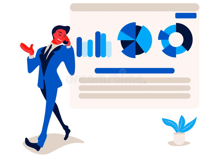 Businessman is talking on phone near to report infographics on the office chart board graph and diagram. royalty free illustration