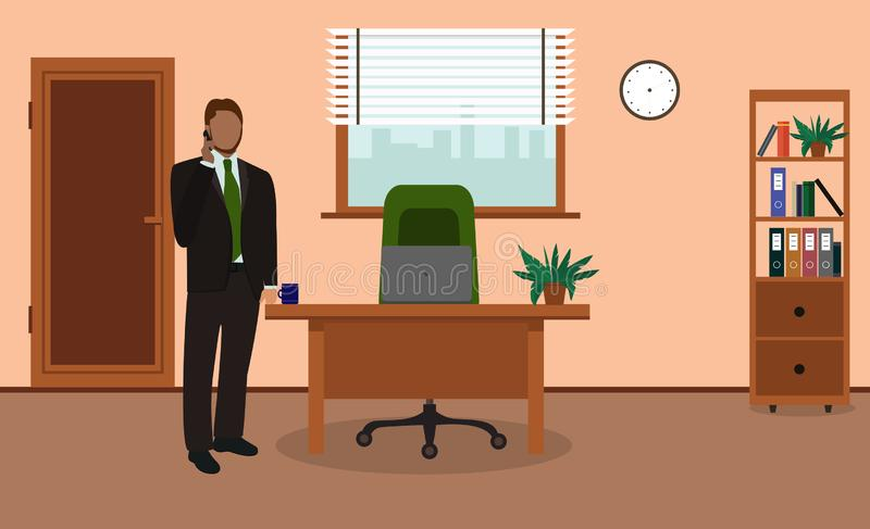 Businessman talking on the phone in office. Office workplace. Vector illustration royalty free illustration