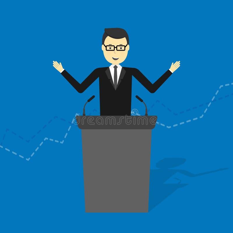 Businessman talking on podium vector illustration
