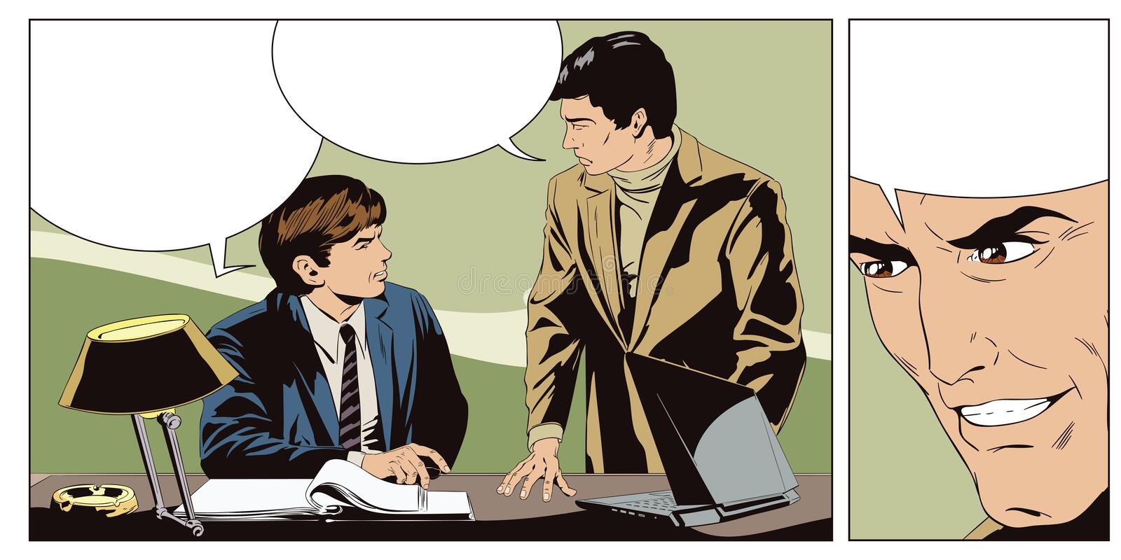 Businessman talking something a colleague. royalty free illustration