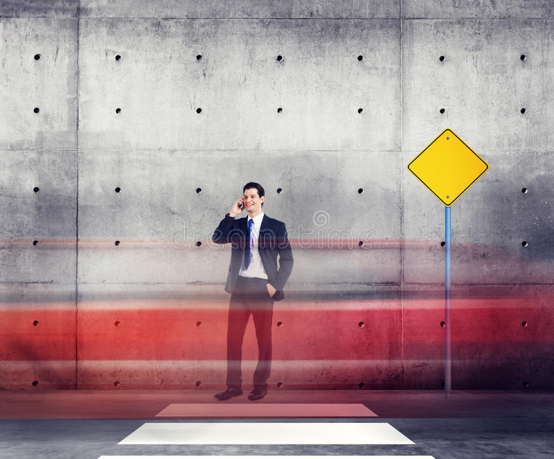 Businessman Talking Traffic Red Light Motion Concept stock photo
