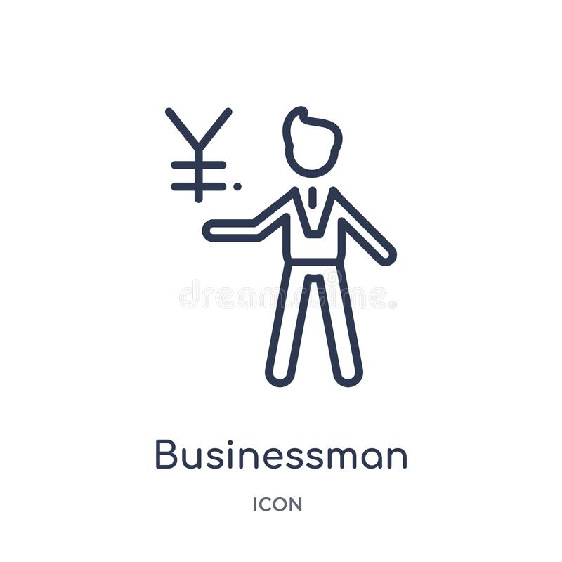 businessman talking about yen icon from people outline collection. Thin line businessman talking about yen icon isolated on white vector illustration