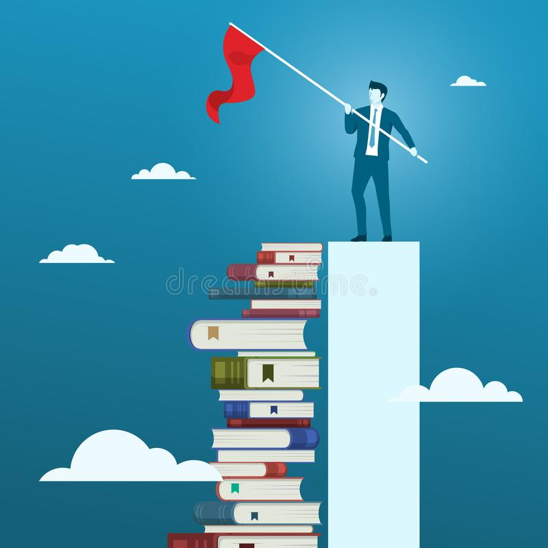 Businessman With a Target Goal Flag. Concept of Reading Will iMprove Businessman Business Skill. stock illustration