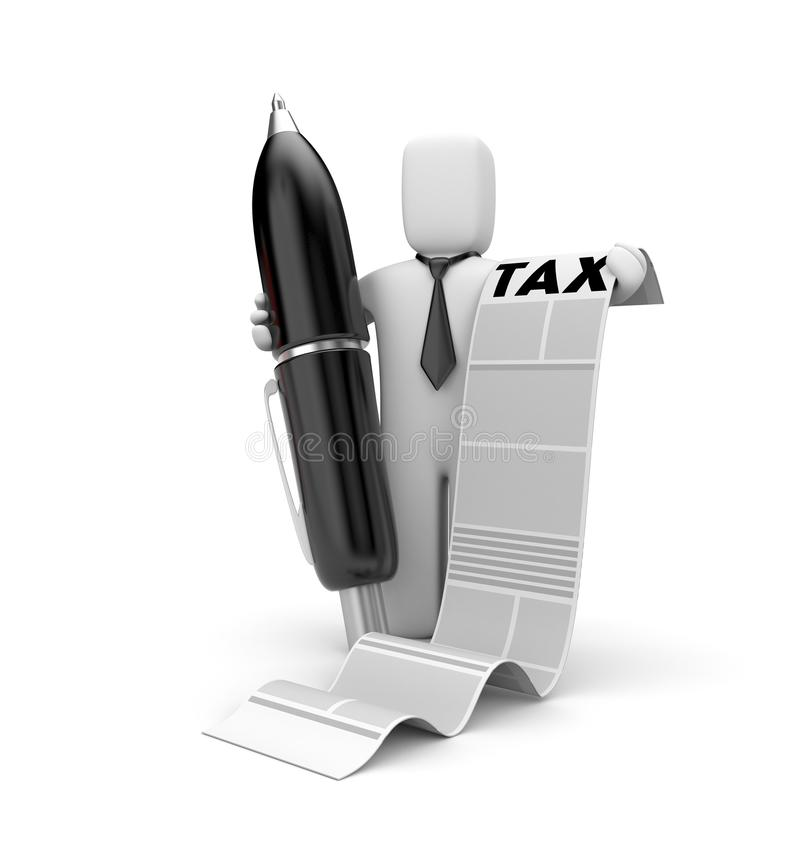 Businessman and taxation list royalty free illustration