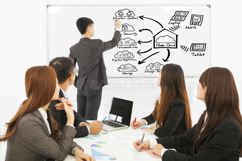 Businessman teaching about applications of cloud computing. In the office royalty free stock image